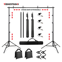 Portable Photography Studio Background Support kit 2.6x3 Meters, with Light Stand, 8 Clips, and Carrying Bag for Photo Studio