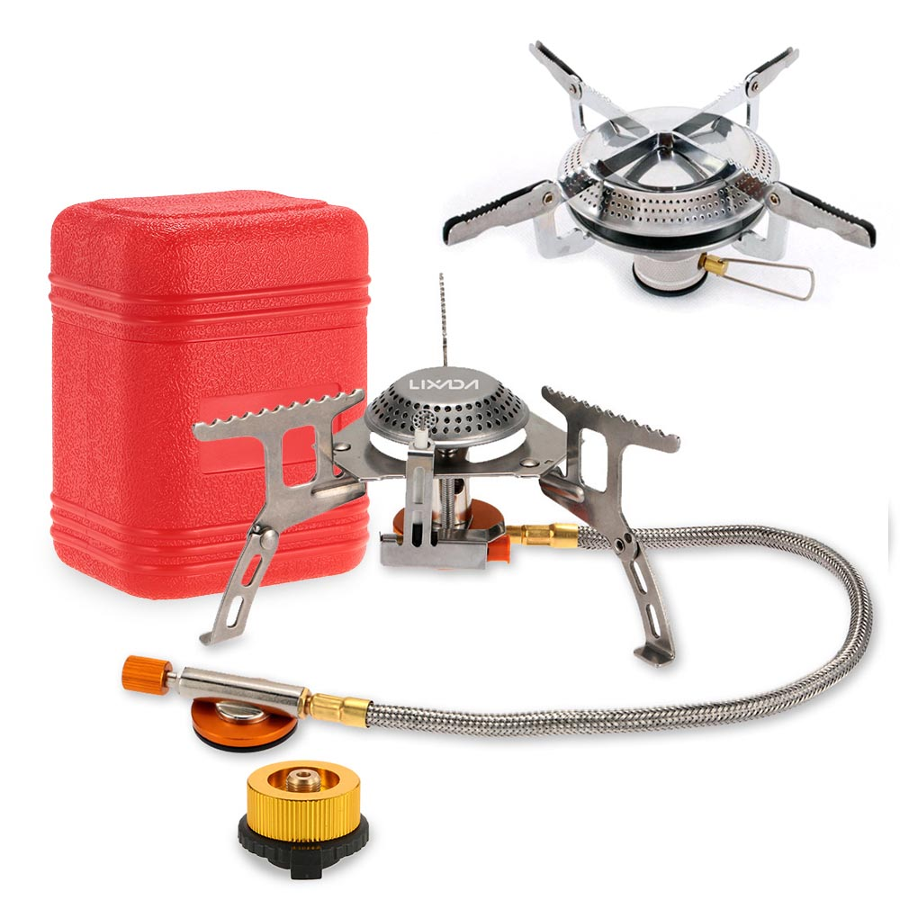Lixada Camping Gas Stove Portable Windproof Outdoor Cooking Stove Foldable Split Burner with Gas Conversion Head Adapter