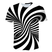 2019 Newest Summer Style Fashion Print Short sleeved Tees Men Black And White Vertigo Hypnotic colorful Printing 3D T shirt(China)
