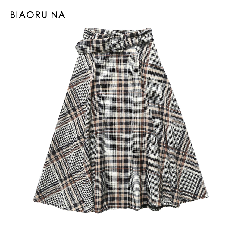 BIAORUINA Women's Vintage Contrast Color Plaid A-line Skirt With Belt Female Elegant High Waist Skirt Side Zippers New Arrival