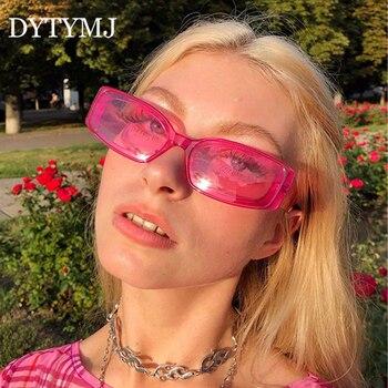 DYTYMJ Vintage Cat Eye Sunglasses Women Square for Luxury Brand Designer Retro Pink Shades Glasses