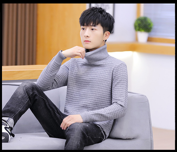 US $13.12 20% OFF|Men Sweater Pink Red Grey Black Blue Long Sleeve White Yellow Winter Fashion Turtleneck Pullovers Solid Casual Men