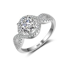 Fashion 925 silver Classic 1ct round Simulated Diamant Ring for Women Size 6/7/8/9/10(China)