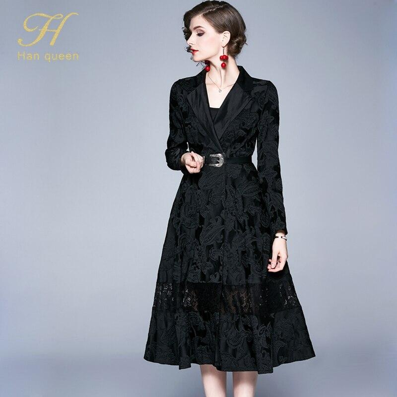 H han queen Winter Jacquard Dress Work Casual Slim Fashion Elegant Vintage Sexy Dresses Women A-line big swing Mid-calf Vestidos 26