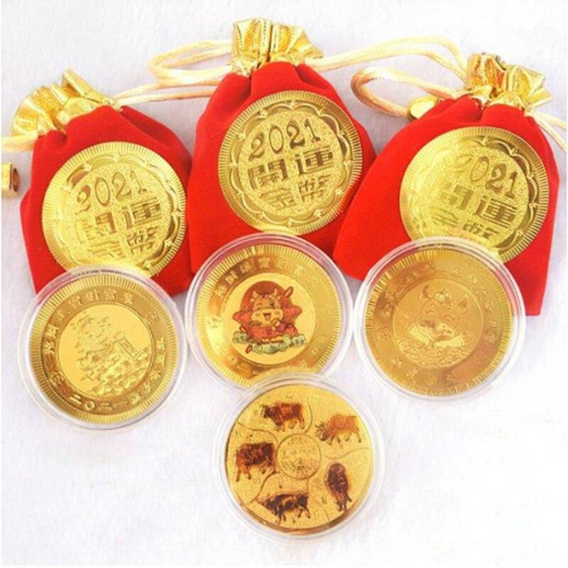 1 шт. 2021 год Ox золото фольга кашированая бумагой памятная монета зодиака сувенирная монета подарок на Новый год для коллекция украшений для ...
