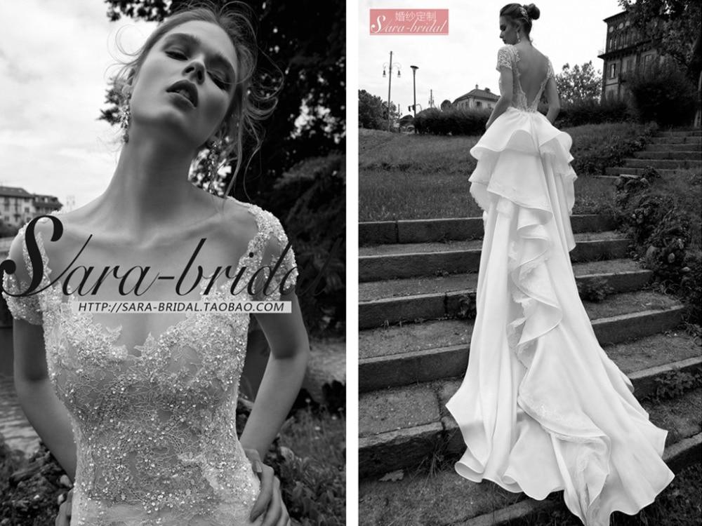 Hot Sexy Backless A-line Long Tiered Romantic 2016 Organza Casamento Vestido De Noiva Lace Wedding Dress With Short Sleeve