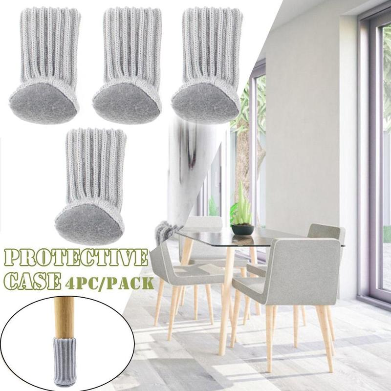 4pcs/ 1 Set Chair Leg Protector Knitting Cloth Floor Protection Cover Chair Leg Socks Anti-slip Table Legs Furniture Feet Sleeve