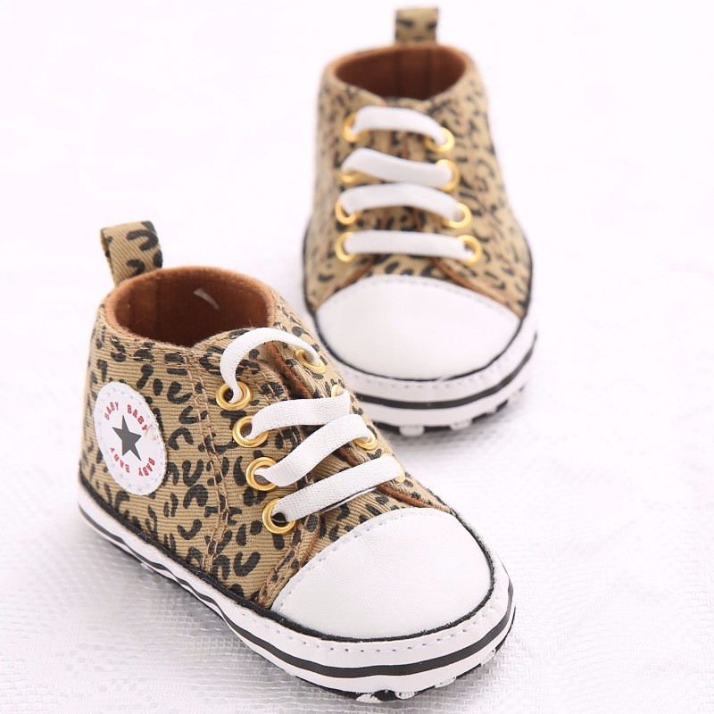 Classic Canvas Sports Sneakers Infant Toddler Leopard Anti-slip Baby Shoes Newborn Baby Boys Girls First Walkers Shoes