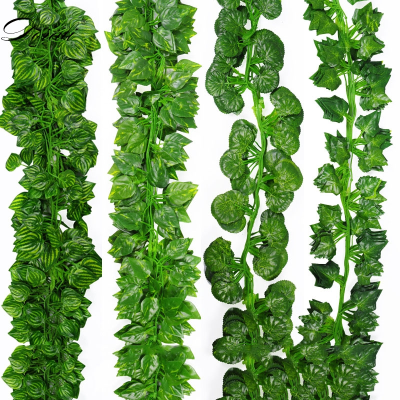 210CM/lot Silk Roses Fake Creeper Green Leaf Ivy Vine For Home Wedding Decora Wholesale Diy Hanging Garland Artificial Flowers