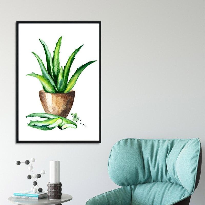 planta aloe sala de estar pintura a