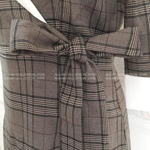 Image 5 - סתיו מחורצים בציר משובץ Vestidos Bowknot חצי שרוול באורך הברך Bodycon עיפרון משרד עבודת בד שמלה