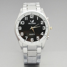 Orlando Watches Men Fashion Simple Wristwatch Stainless Steel Quartz Big Dial horloge heren reloj hombre