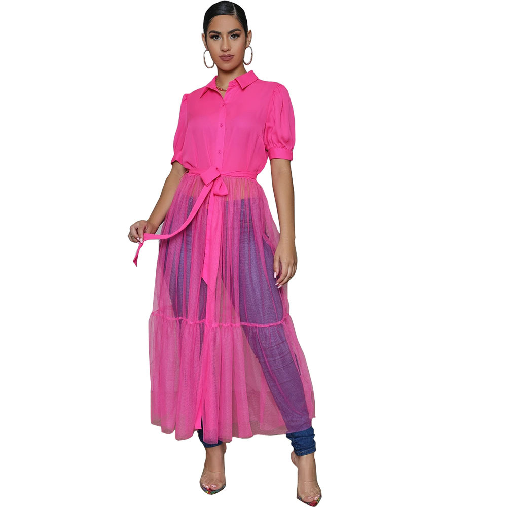 CN975 Fashion Shirt Style Button Gauze Dress Ladies Long Street Solid Color Dress Casual Home Commuting Dress Female Wholesale 9