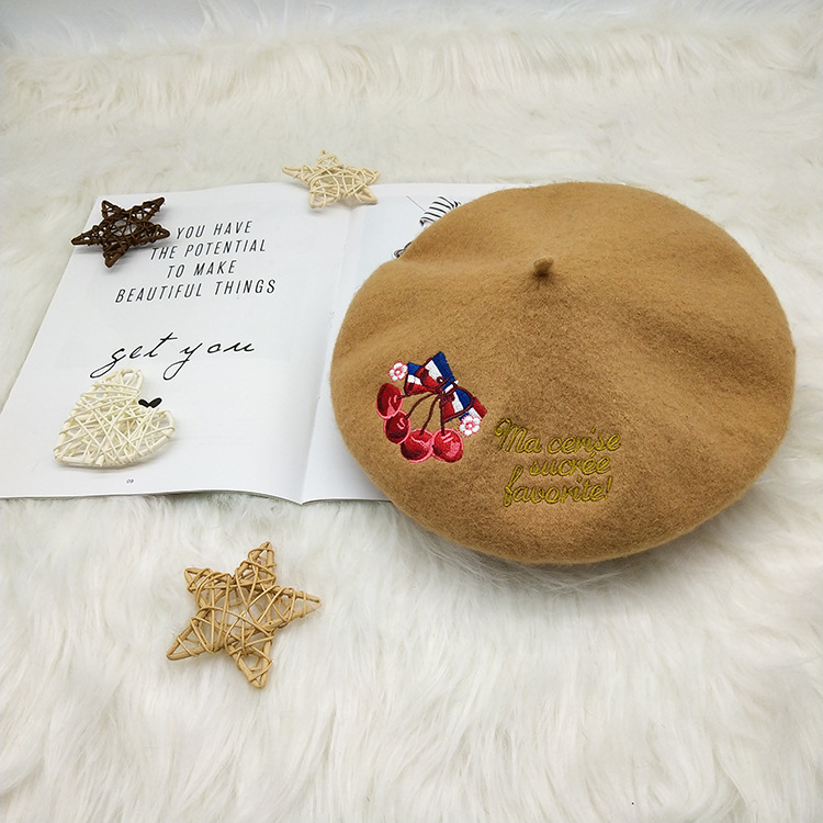 Autumn and Winter New Fashion Retro Cherry Letter Embroidered Bud Cap Korean Chao British Beret Cap Artist Cap women hats in Women 39 s Berets from Apparel Accessories