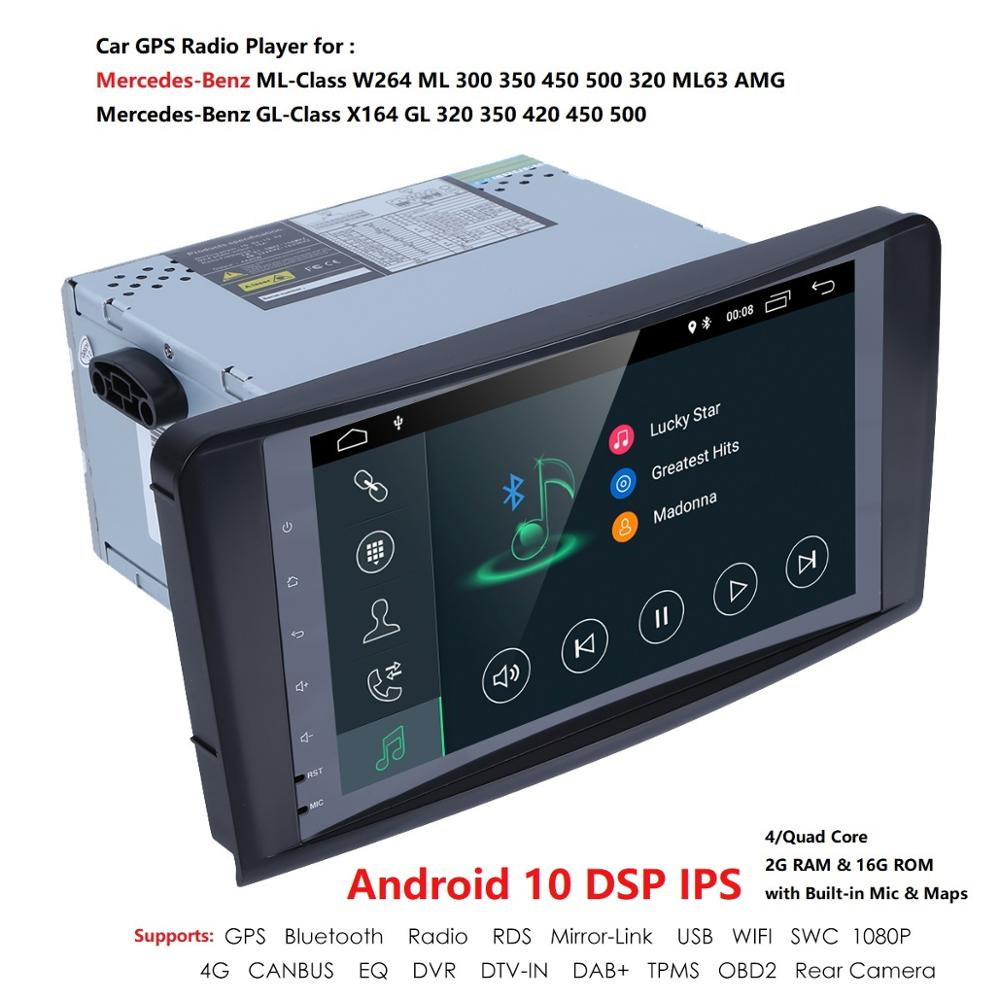 Android10 2 DIN PX5 Car Radio Player For Benz ML W164 GL X164 ML300 350 450 500 GL350 450 500 550 multmedia GPS Navigation 2+16G image
