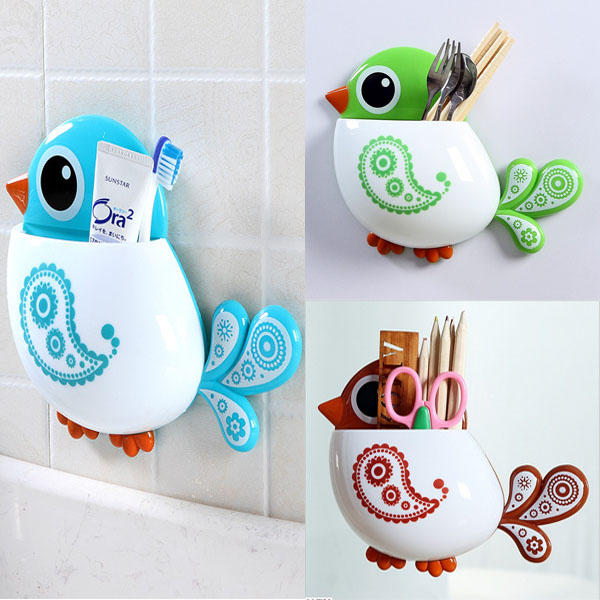 1 Piece Funny Popular Kid's Favourite Cartoon Bird Pattern Suction Cup Tooth Brush Holder Bathroom Accessories for Toothbrush image