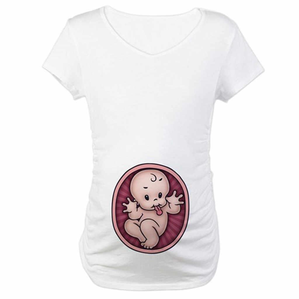 الأمومة لطيف الطفل طباعة مستديرة الرقبة لطيف طفل تي شيرت الحوامل بلايز قصيرة الأكمام blusas دي إبازادا L1209