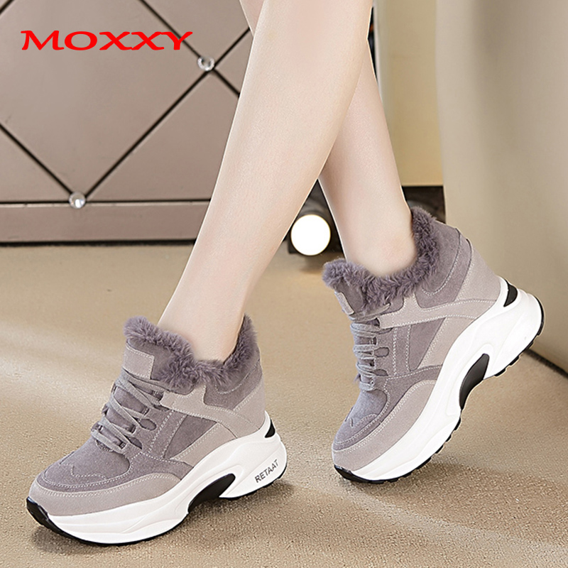 2019 New Women's Winter Sneakers Warm Fur Chunky Sneakers Platform Plush Casual Shoes Woman Comfort Ladies Wedge Sneakers Feamle