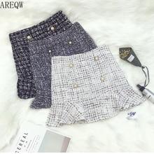 New Korean of High Waist Tweed Skirt with Button Wool Half-length Black Skirt Autumn Winter