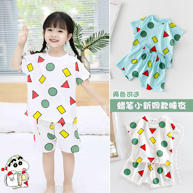 INS Crayon Celebrity Style Parent And Child-Adult Models Pajamas Summer Western Style Cartoon T-shirt Suit Tracksuit