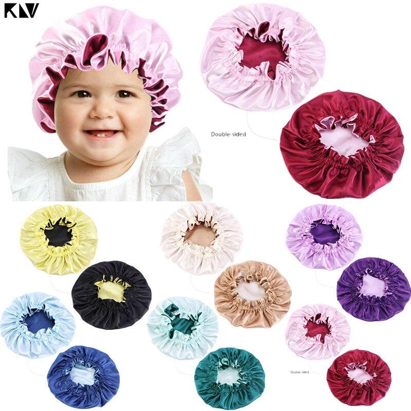 Новая детская шелковистая Атласная шапочка, двухслойная Регулируемая Шапочка для сна для девочек, ночная тюрбан, Детская однотонная Милая ...