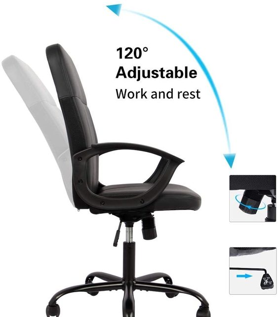 Office Chair, Mid Back Leather Desk Chair, Computer Swivel Office Task Chair, Ergonomic Executive Chair with Armrests 2