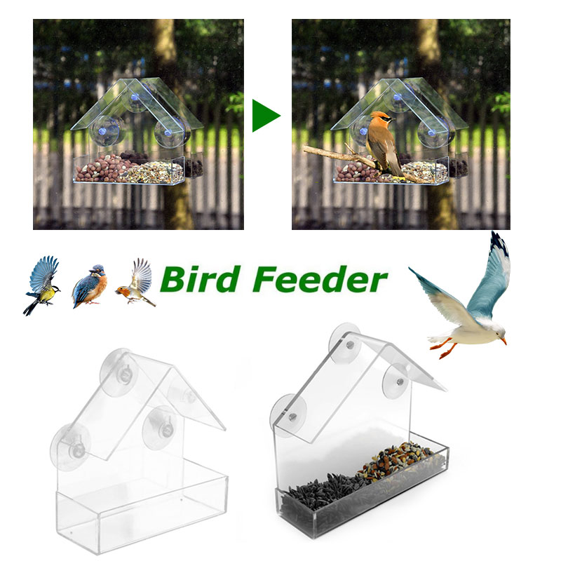 SOLEDI Transparent Beautiful Birdhouse Sucker Outdoors Feed Bird Feeder Window Pet Gardens Plastic Foods Feeder Pet SUPPLY