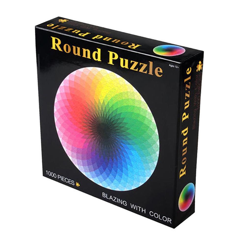 Kuulee pcs/set Colorful Rainbow Round Geometrical Photo Puzzle Adult Kids DIY Educational Reduce Stress Toy Jigsaw Puzzle Paper(China)