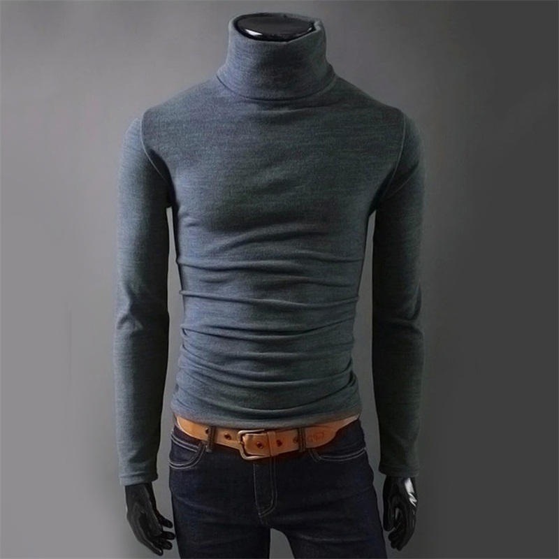 2019 Brand Autumn Knitted Sweater Men Christmas Black Knitwear Casual Winter Male High Collar Sweter Pull Pullover Sweaters Slim