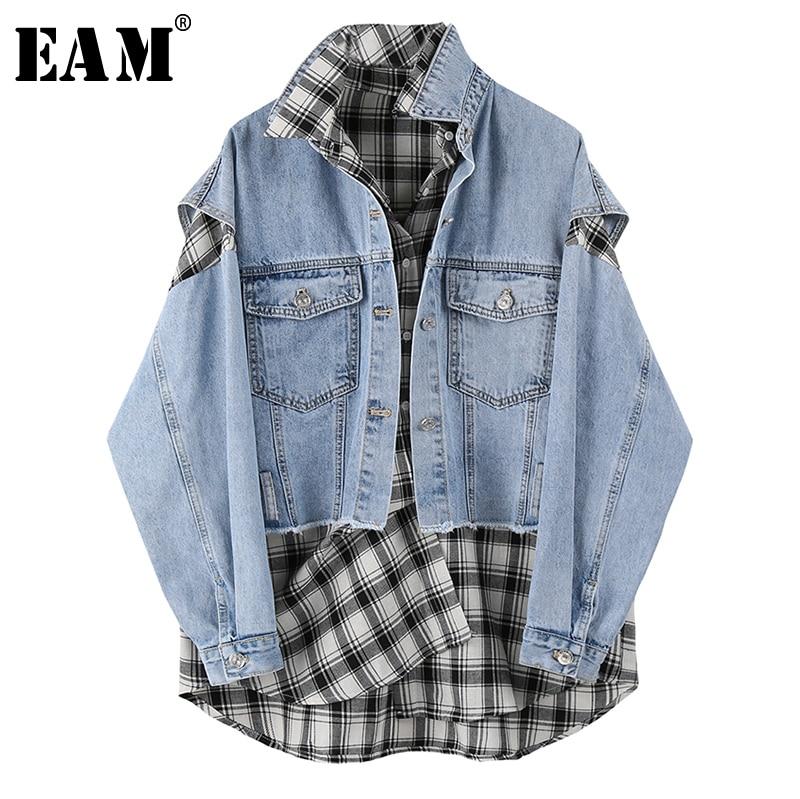 [EAM] Loose Fit Blue Plaid Split Big Size Two Pieces Jacket New Lapel Long Sleeve Women Coat Fashion Tide Spring 2020 1U345
