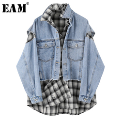 [EAM] Loose Fit Blue Plaid Split joint Big Size denim  Jacket New Lapel Long Sleeve Women Coat Fashion Tide Spring 2020 1U345