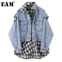 [EAM] Lose Fit Blau Plaid Split joint Große Größe denim Jacke Neue Revers Lange Hülse Frauen Mantel Mode flut Frühjahr 2020 1U345