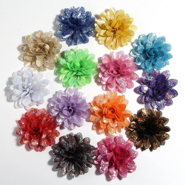 """50PCS 8CM 3.1"""" New Artificial Metallic Fabric Flower For Hair Accessories Chiffon Shiny Scallop Flowers For Wedding Boutique"""