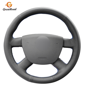 Hand-stitched Black  Genuine leather Steering Wheel Cover for Ford Kuga 2008-2011 Focus 2 2005-2011 C-MAX 2007-2010 Transit