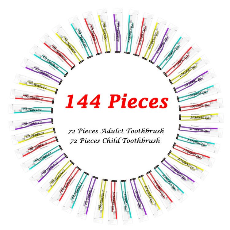72 pieces adult toothbrushes with 72 pieces kids toothbrushes Soft Bristles Colorful Manual Toothbrushes Disposable toothbrush image