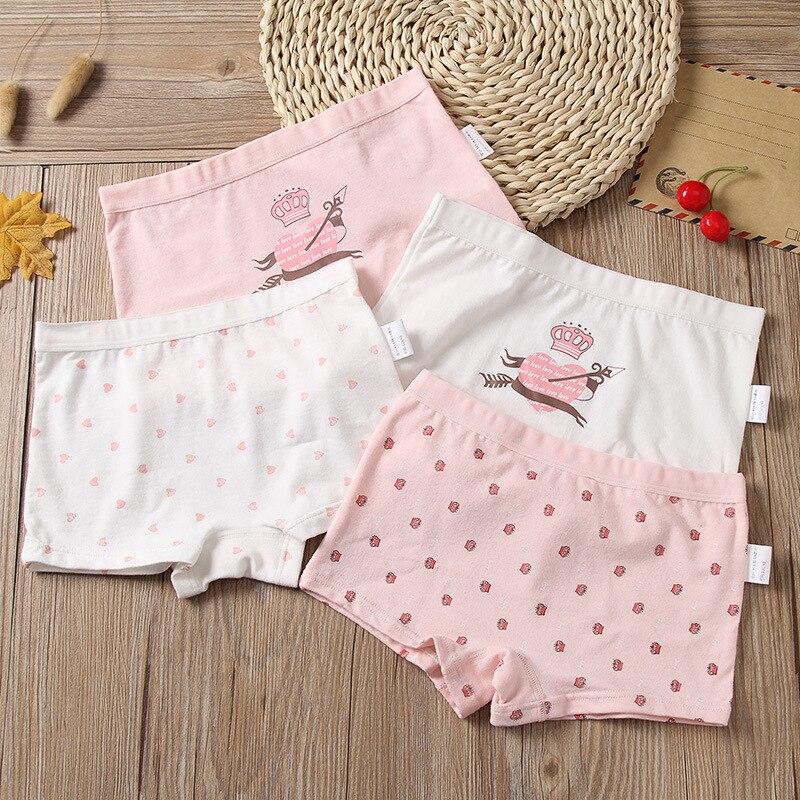 3-12 ans enfants filles coton sous-vêtements culotte Boxer bébé enfants beau caleçon mignon 4 pièces/lot