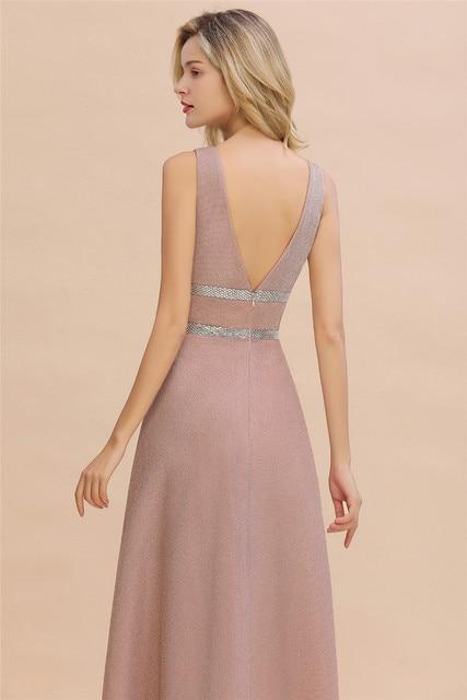Robe De Soiree Dusty Rose Long Evening Dress 2020 Sexy Deep V-neck Navy Blue Evening Prom Gowns Vestido de Festa 6