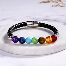 Black Lava Rock 8mm Beads 7 Chakra Healing Balance Bracelet for Men Women Reiki Prayer Natural Stone Charm 2020