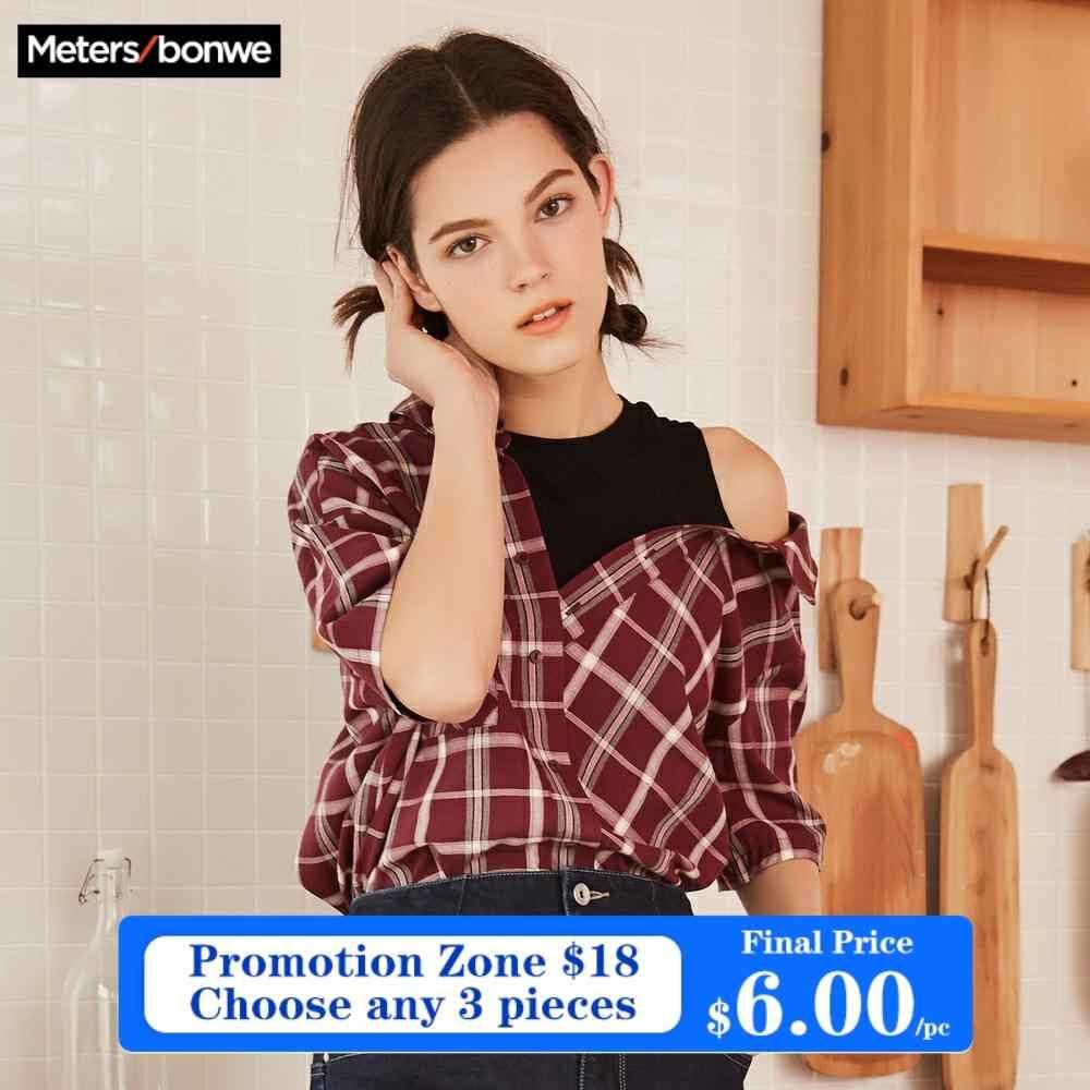 Metersbonwe maquette deux pièces chemise à carreaux femmes Blouses nouvelle mode décontracté épissé Blouse chemise Streetwear haut pour femme