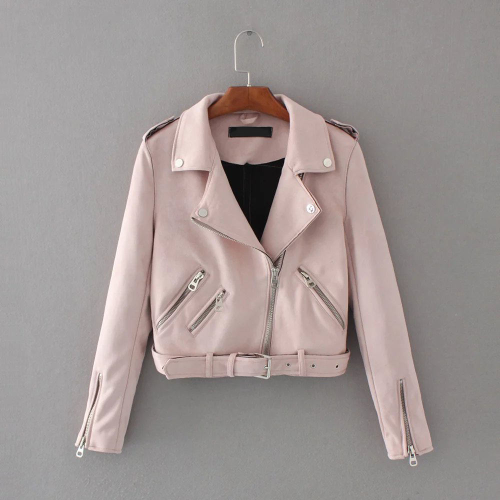 Women's Faux Pu   Leather     Suede   Short Jacket Zipper Motorcycle Coat Womens 2019 Spring Fashion Biker Jackets Dropshipping