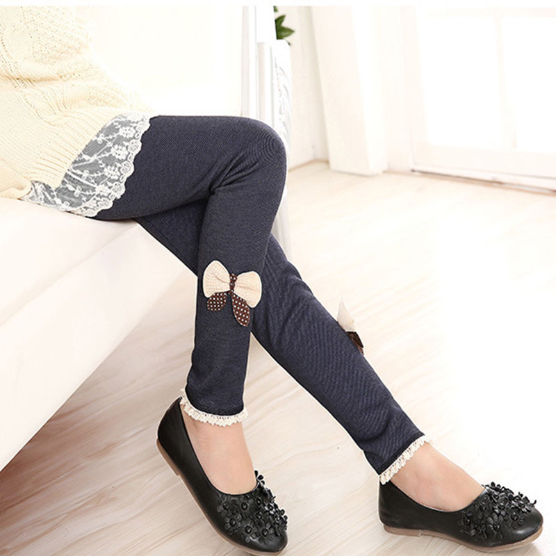 Autumn Winter Children Thicken Long Pant Baby Cotton Plus Velvet Thickening Leggings Girl High Quality Warm Bow Bottoming Trouse