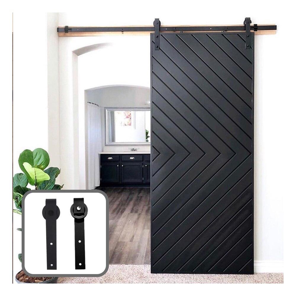 American Style J-Shaped Sliding Barn Door Hardware Kit For Single Door Sliding Interior Closet Door(Ship From US)