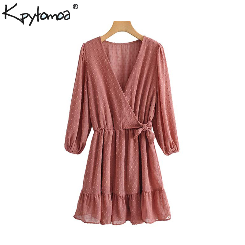 Vintage Elegant Bow Tied Dotted Chiffon Playsuits Women 2020 Fashion Cross V Neck Long Sleeve Elastic Waist Female Chic Rompers