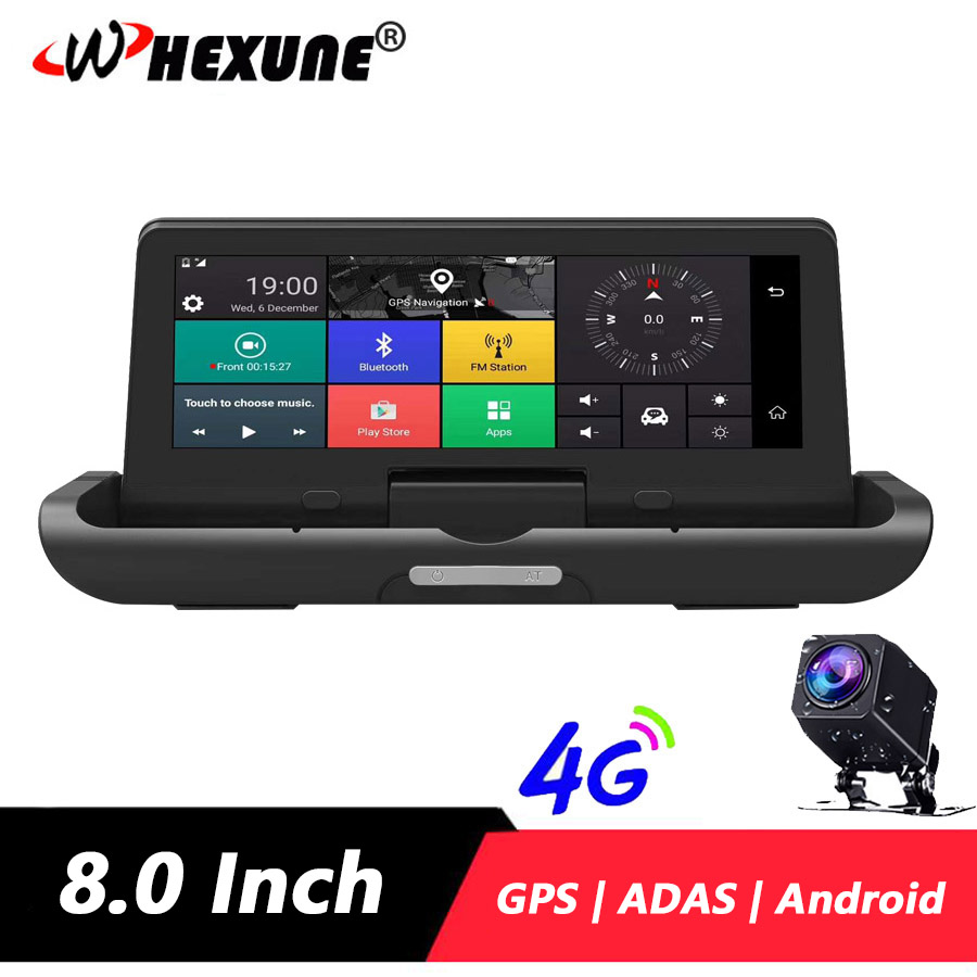 WHEXUNE 4G ADAS Car DVR Dash cam Full HD 1080P Camera Drive Video Auto Recorder Registrator 7.84'' Android GPS Rear View Camera image