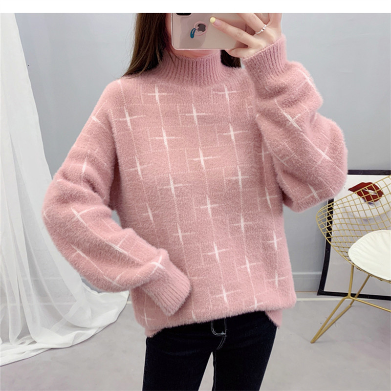 High Quality Geometry Warm All Match Turtleneck Knitted Sweater Pullover Autumn Knitwear Sueter Mujer Long   Sleeve Women New