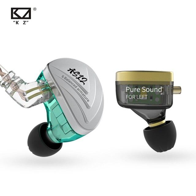 KZ AS12 écouteurs 12BA Armature équilibrée conduit HIFI basse dans loreille moniteur casque suppression du bruit écouteurs en alliage de Zinc casque