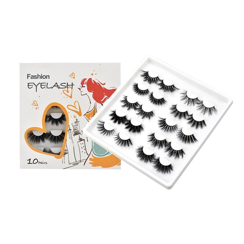 10 Pairs False Eyelashes Mink 25mm Thick Crisscross 3D Eye Lashes Extension Makeup Tool Set