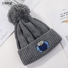 USPOP 2019 Women hats winter knitted skullies fashion cartoon thick warm female beanies pompom hat