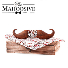 Mahoosive 3D mustache Sapele Wooden bow tie for men gift Foral flower pattern po