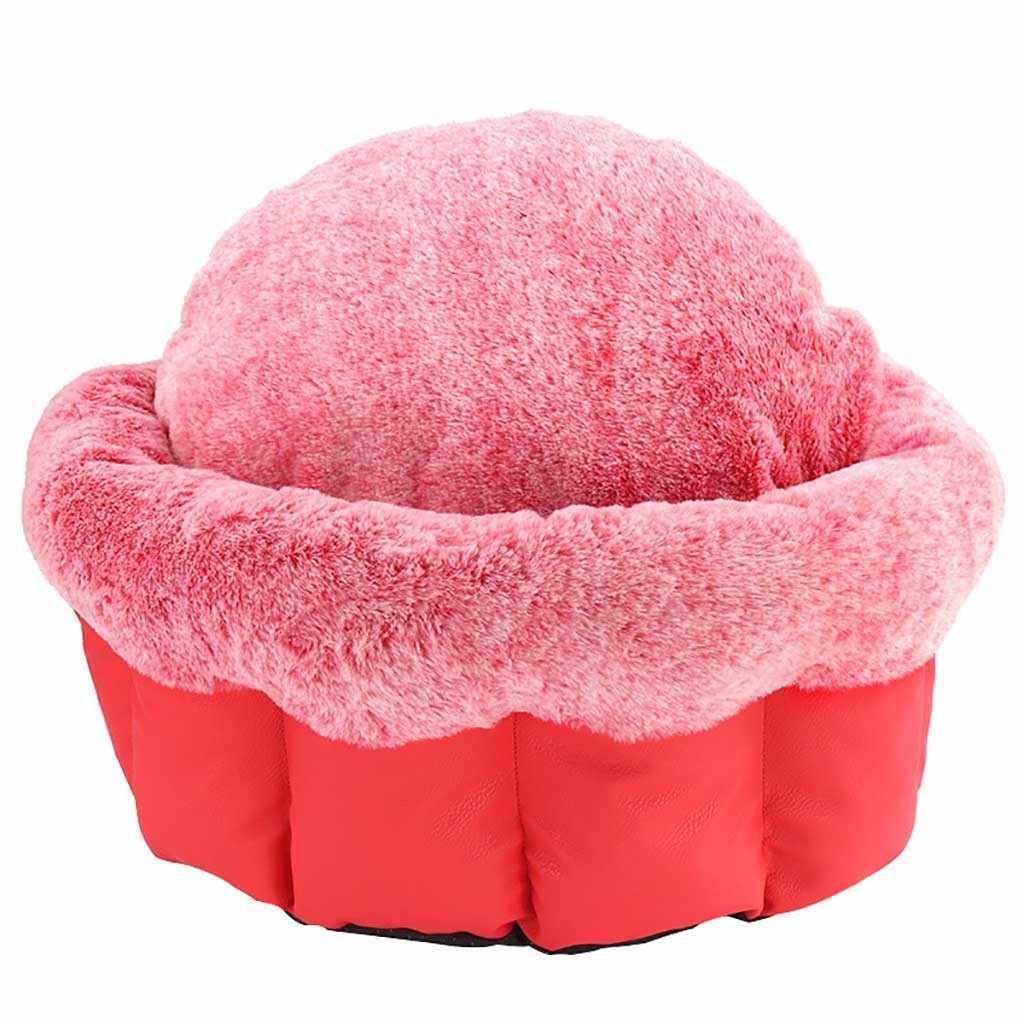 Anjing Round Kucing Musim Dingin Kantong Tidur Hangat Kennel Anjing Kecil Kucing Anak Anjing Peliharaan Bulat Tempat Tidur Hangat Lembut Pad Nest portable Perlengkapan Kucing